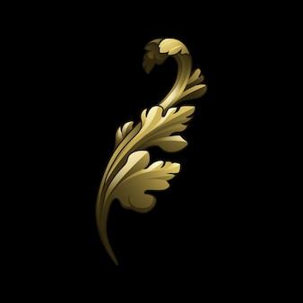 Golden baroque floral elements vector