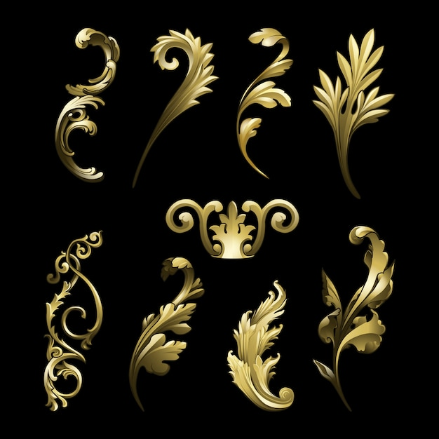 Golden baroque flourish elements vector set