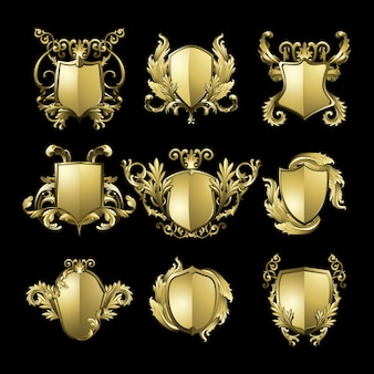 Golden Baroque shield elements set