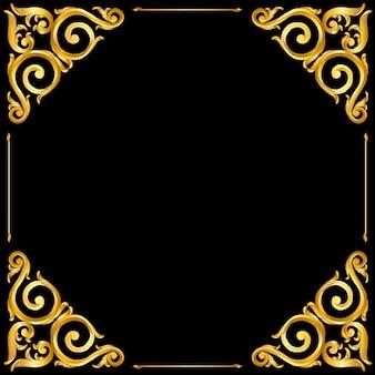 Golden baroque style frame scroll