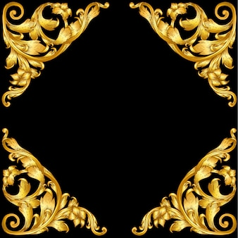 Golden baroque style frame scroll