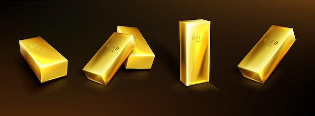 Золотые слитки, желтые металлические слитки. концепция денежных вложений, твердой валюты, финансового резерва. реалистичный набор слитков чистого золота на темном фоне. символ сокровища, богатых сбережений