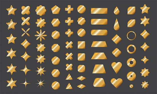 디자인을위한 황금 기본 모양 컬렉션. 금색 그라데이션으로 날카 롭고 둥근 모서리를 가진 다각형 요소