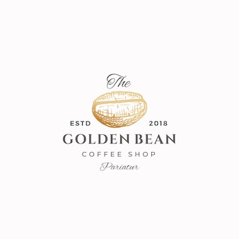 The golden bean abstract  sign, symbol or logo template.