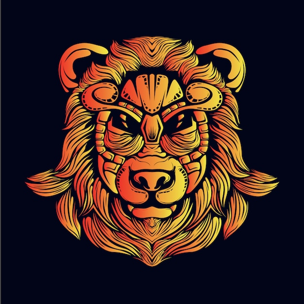 Golden bear head illustration