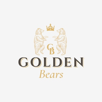 Golden bears abstract  sign, symbol or logo template. hand drawn bear sillhouettes with classy retro typography. vintage heraldry  crest or emblem.