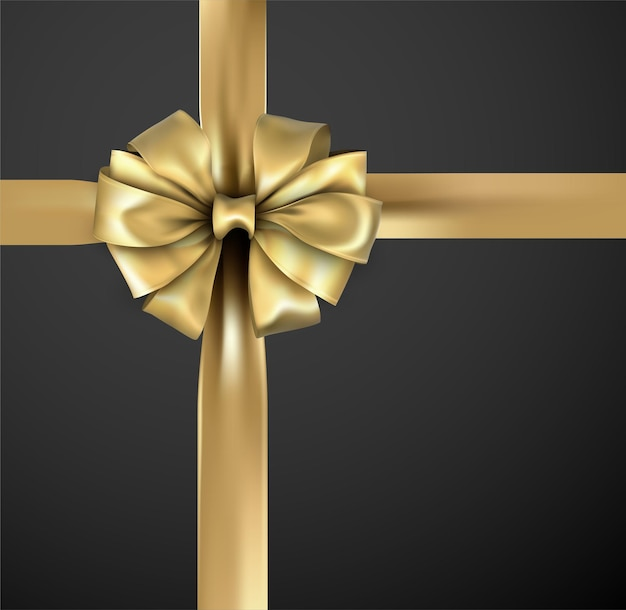 Golden beautiful realistic bow with satin ribbon for gift wrap.
