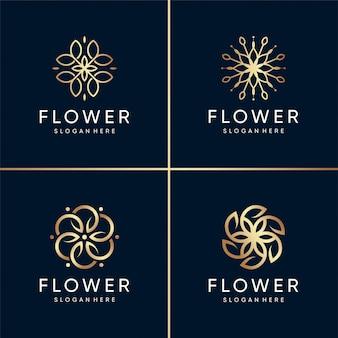 黄金の美しさの花ロゴコレクション、健康、スパ、美容、モダン、抽象、花、ユニークです