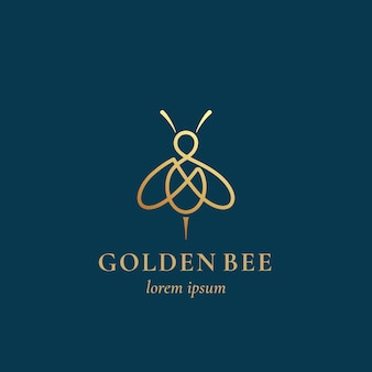 Golden bee abstract  sign, symbol or logo template.