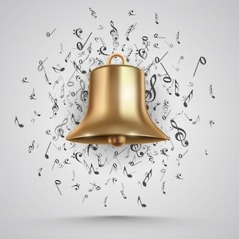 Golden bell isolated on white. vector illustration