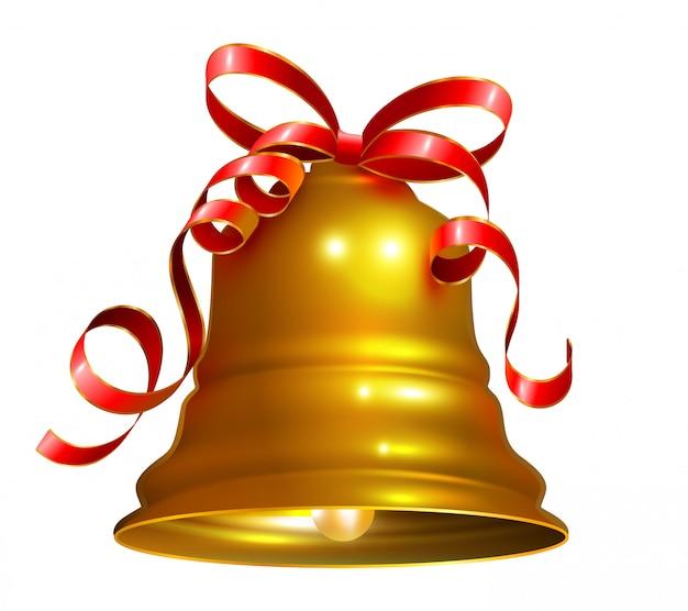 Золотой колокольчик с красной лентой символ аксессуар рождество