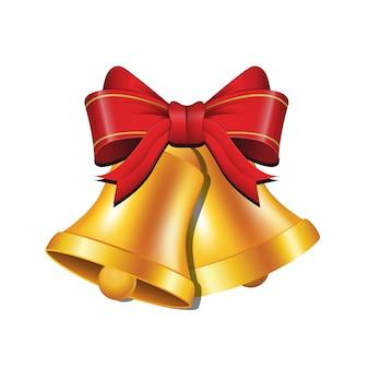 Золотые колокольчики рождественские украшения с красной лентой вектор