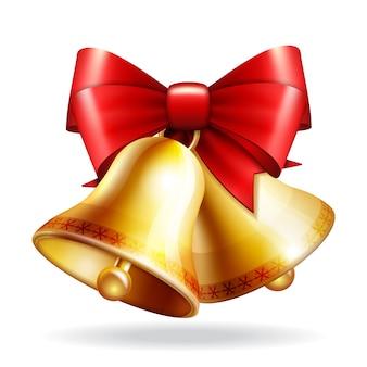 Золотые колокольчики с красным бантом. обратно в школу фоновой иллюстрации