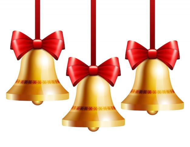 Золотые колокольчики с красным бантом