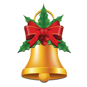 Золотые колокольчики с лентой и украшением падуба на рождество