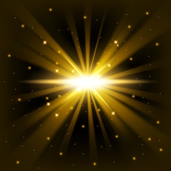Golden big bang shine from darkness background