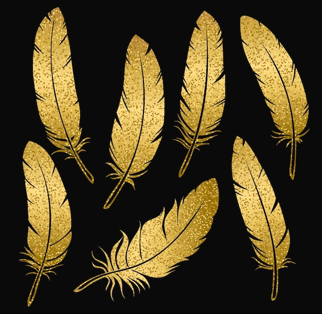 Golden bird feathers