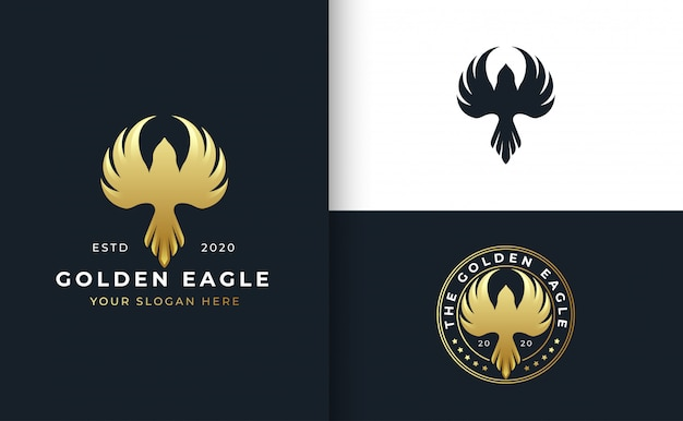 Golden bird logo design with badge template
