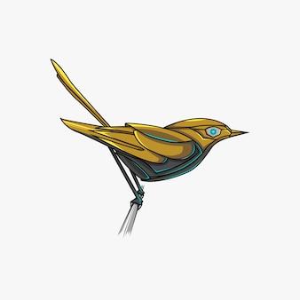 Golden bird robot illustration