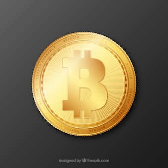 Golden bitcoin background