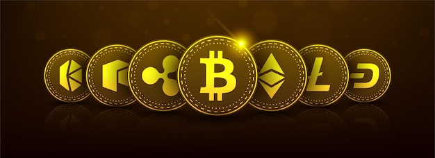 Golden bitcoin blockchain technology 3d concept suitable for future technology banner or or cover
