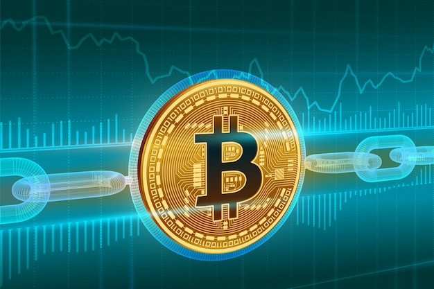 Golden bitcoin coin with wireframe chain. blockchain concept.