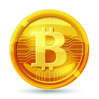 Golden bitcoin coin.