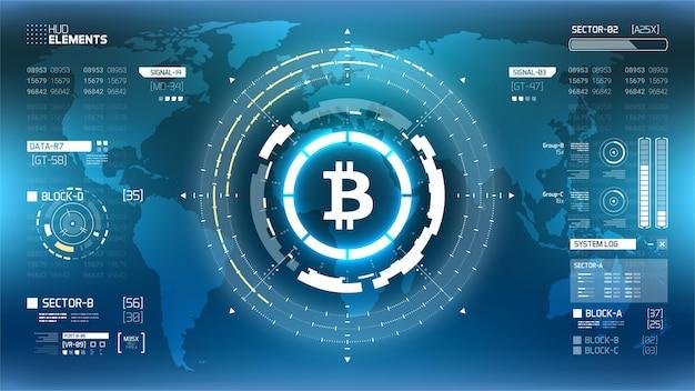 Золотой биткойн криптовалюта футуристический векторные иллюстрации. технология цифровых денег во всем мире