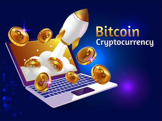 Golden bitcoin cryptocurrency with rocket booster and laptop