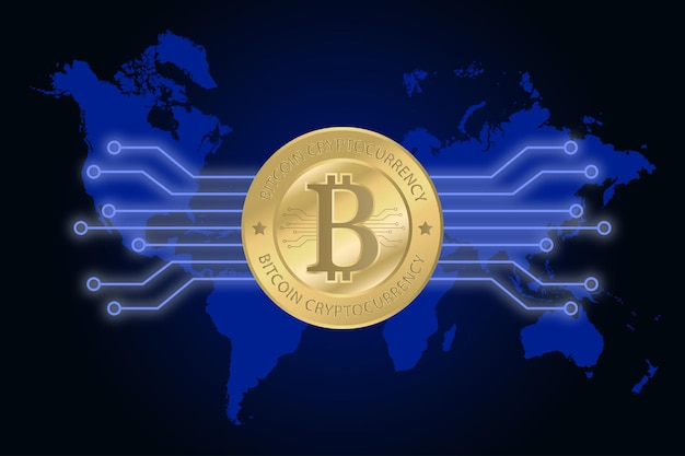 Golden bitcoin cryptocurrency on world map. digital money concept. vector illustration.