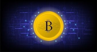 Golden bitcoin digital crypto currency
