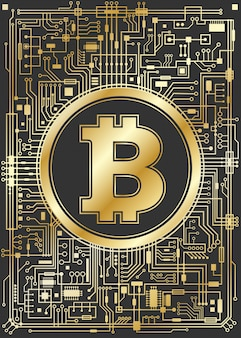 Golden bitcoin digital currency background