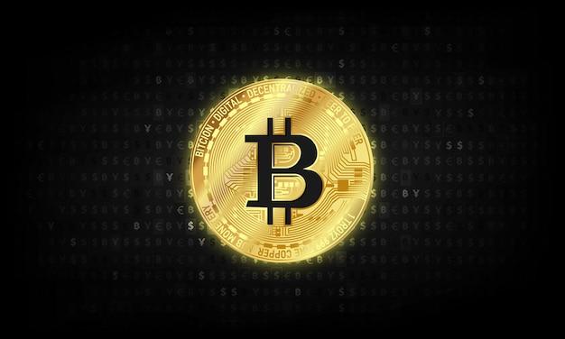 Золотая цифровая валюта биткойн, футуристические цифровые деньги, концепция всемирной сети технологий