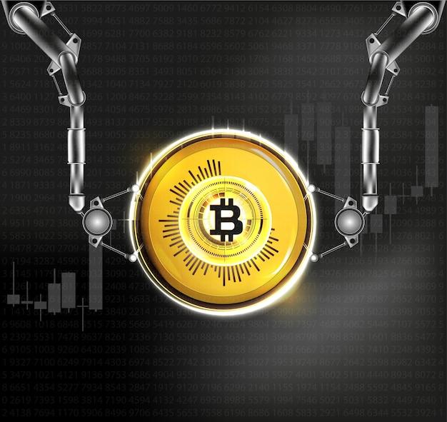 ゴールデンビットコインデジタル通貨。図。