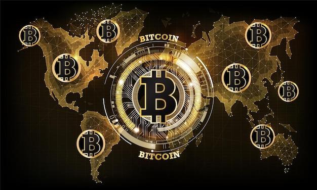 世界地図上のゴールデンビットコインデジタル通貨世界の未来的なデジタルマネーテクノロジー