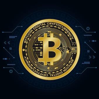 Символы цифровой валюты золотой биткойн, футуристические цифровые деньги,