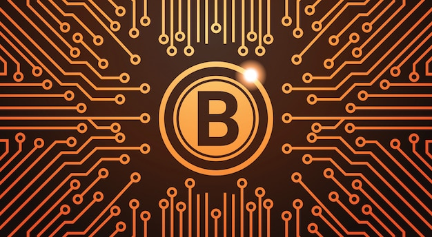 Golden bitcoin digital currency web money concept circuit background
