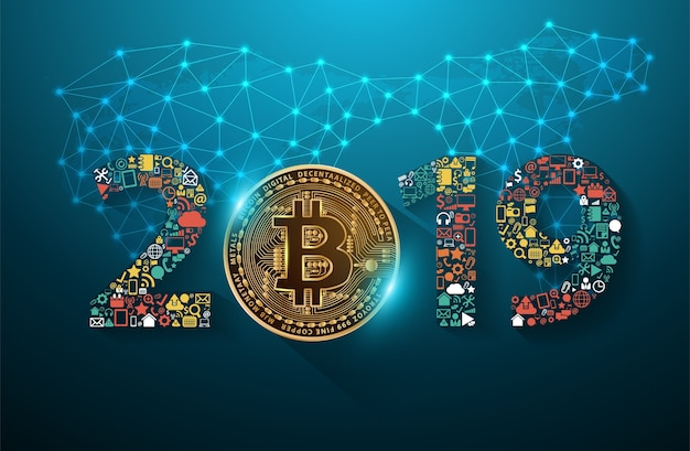 Golden bitcoin digital currency with 2019 new year business