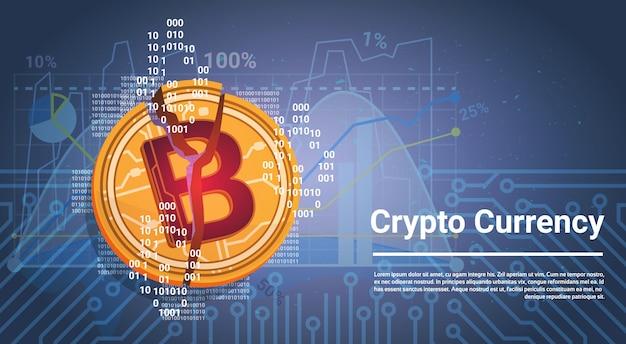 Концепция криптовалюты golden bitcoin digital web modey синий фон с диаграммами и графиками