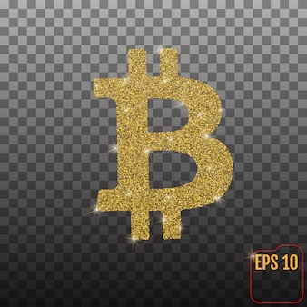Golden bitcoin isolated on transparent background