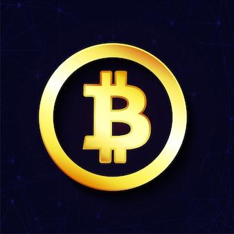 Golden bitcoin on purple background