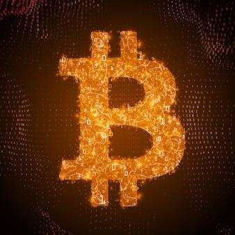 흐르는 이진수로 구성된 황금 bitcoin 기호
