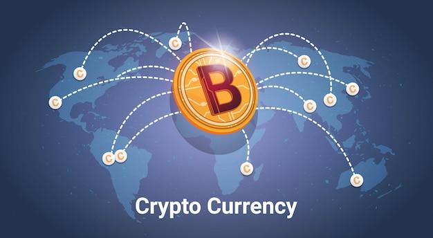Golden bitcoin over world map digital crypto currency modern web money