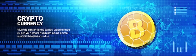 Golden bitcoin on world map horizontal banner