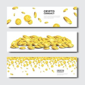 Golden bitcoins banners