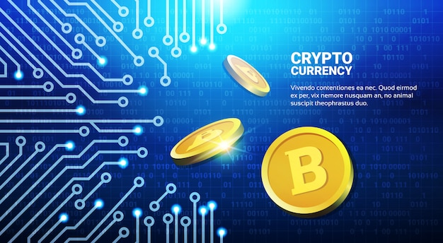 Golden bitcoins on blue circuit background crypto currency mining network concept