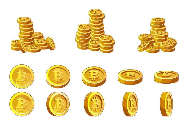 Золотые биткойны монеты стека и анимации набор. иллюстрация концепции криптовалюты успеха финансов.
