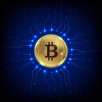 Золотые биткойны цифровой валюты и цифровых денег и технологии печатных плат