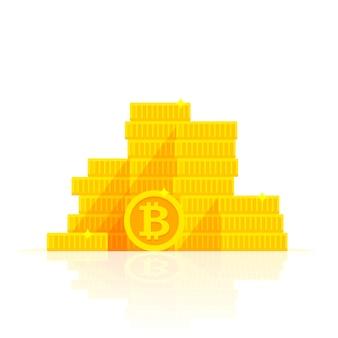 Иллюстрация золотых биткойнов