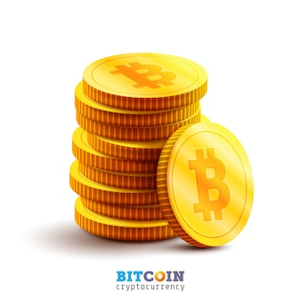 Golden bitcoins and new virtual money concept.stack of golden coin with icon letter b.mining or blockchain technology for cryptocurrency